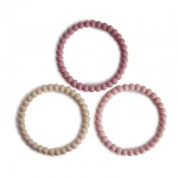Mushie 3 silikonowe bransoletki gryzaki PEARL Linen Peony Pale Pink