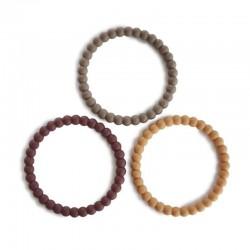 Mushie 3 silikonowe bransoletki gryzaki PEARL Berry Marigold Khaki
