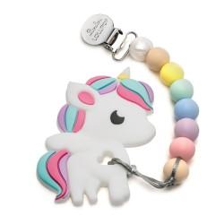 Gryzak silikonowy z zawieszką Rainbow Unicorn