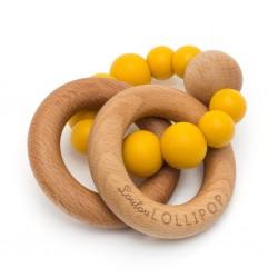 Gryzak drewniany z koralikami Bubble Mustard