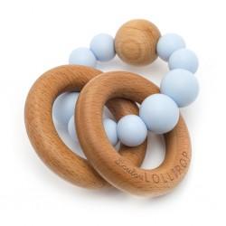Gryzak drewniany z koralikami Bubble Baby Blue