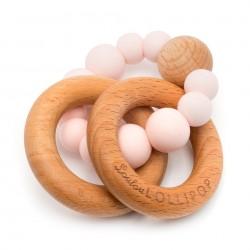 Gryzak drewniany z koralikami Bubble Pink