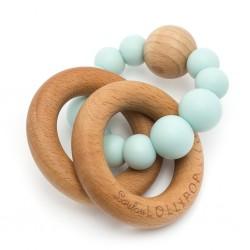 Gryzak drewniany z koralikami Bubble Robin Egg Blue