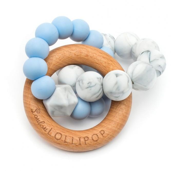 Gryzak drewniany z koralikami Trinity Baby Blue