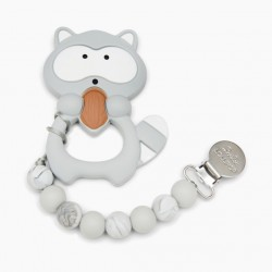 Gryzak silikonowy z zawieszką Raccoon Gray