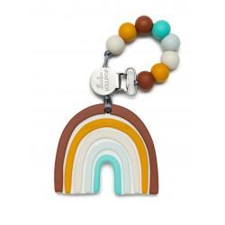 Gryzak silikonowy z zawieszką neutral rainbow Loulou Lollipop