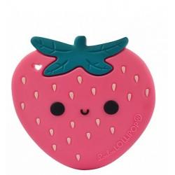 Gryzak silikonowy z zawieszką Strawberry